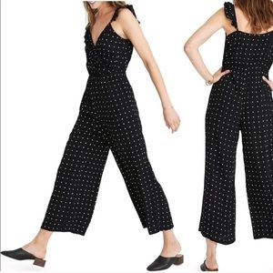 Madewell Ruffle Polka Dot Wrap Jumpsuit